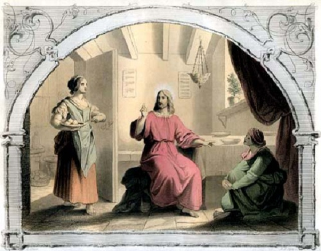 Jesus with Mary and Martha.